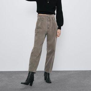 Zara Baggy Paper Waist Pants 2 Khaki